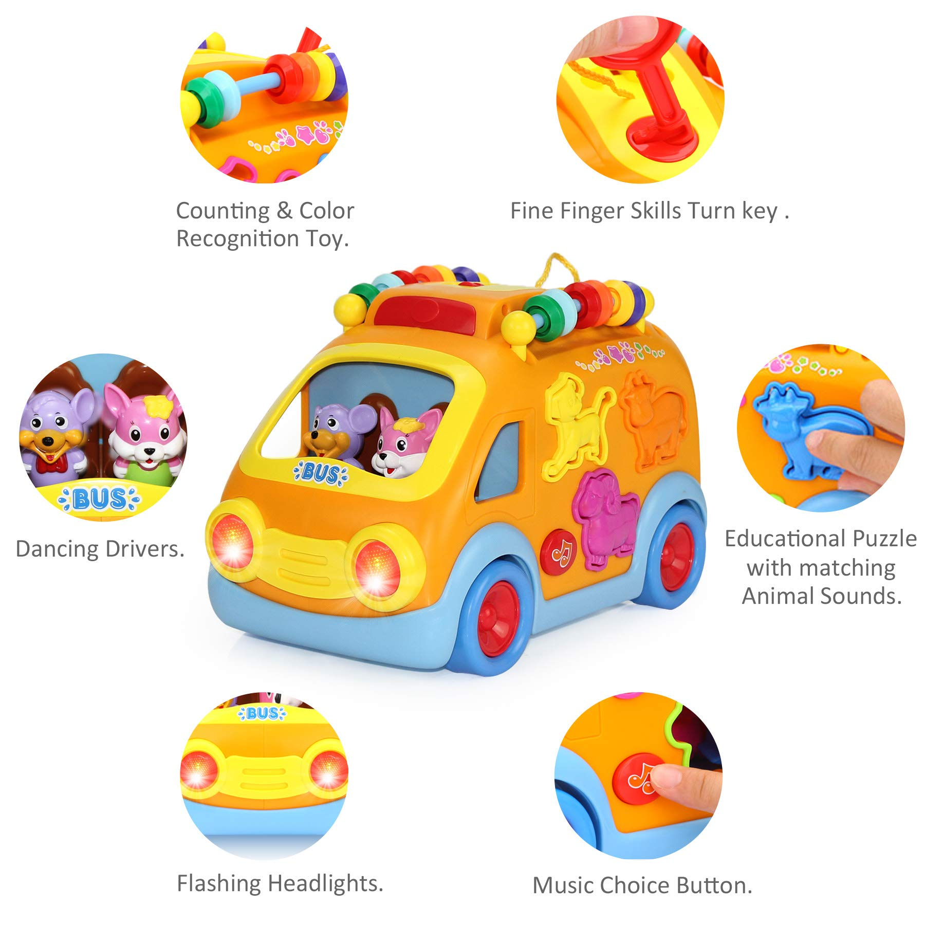 iPlay, iLearn Electronic Musical Bus, Baby Sensory Toy, 3D Animal Matching Car w/ Gear, Early Development, Learning, Educational Gift for 1, 2 Year Olds Girls Boys Toddlers Kids by iPlay, iLearn (Image #3)