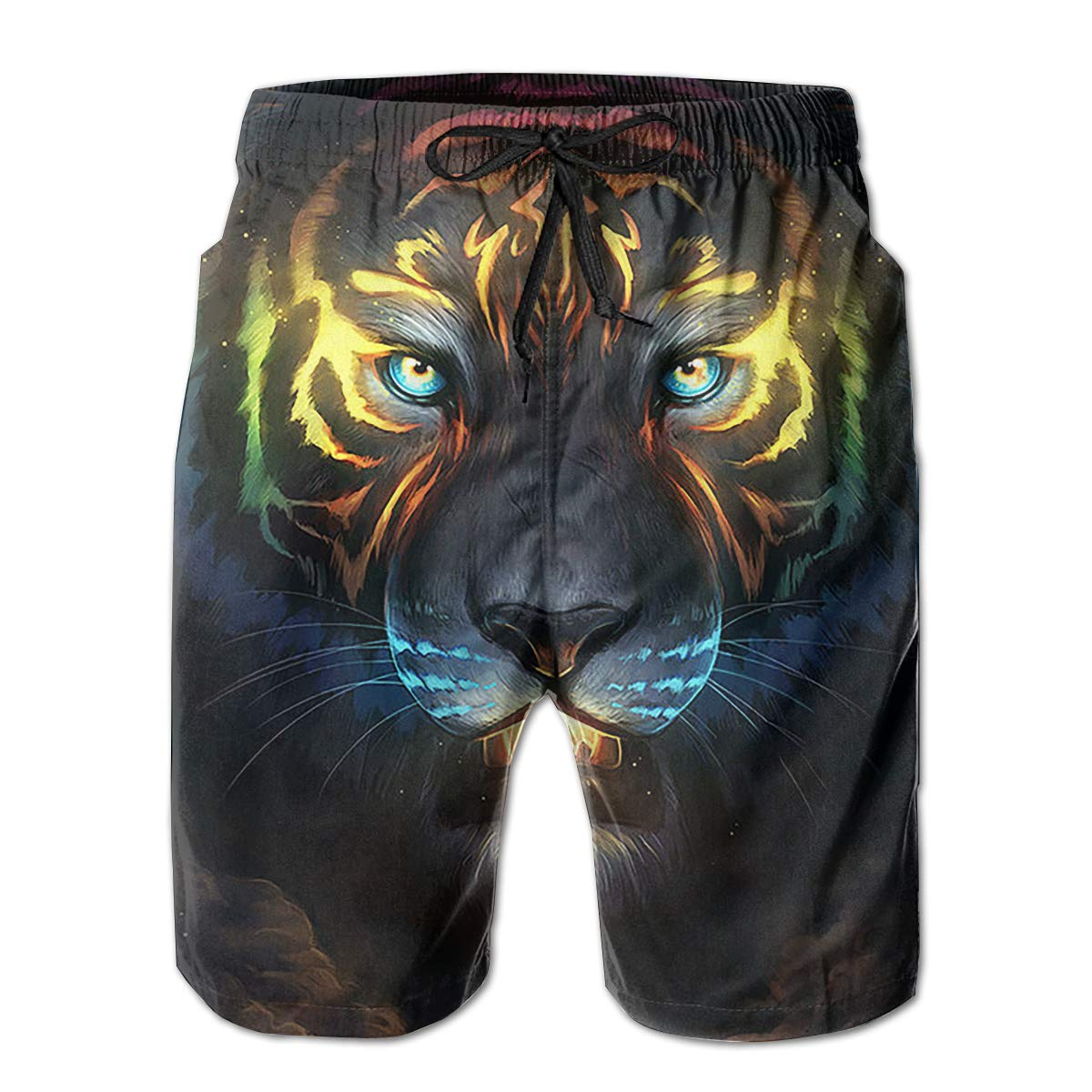 K-Dark Fantasy Spiritual Colorful Tiger Mens Summer Surf Board Short Swim Trunks Bathing Suit