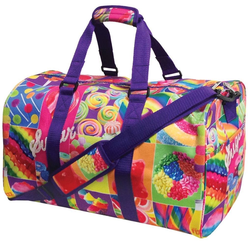 iscream 'Rainbow Candy' Neoprene 20'' x 11.5'' x 11'' Duffle Bag for Sport and Travel with Adjustable Strap