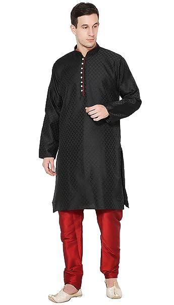 193aa617be SKAVIJ Men s Dupion Art Silk Ethnic Kurta Pajama Dress  Amazon.in ...