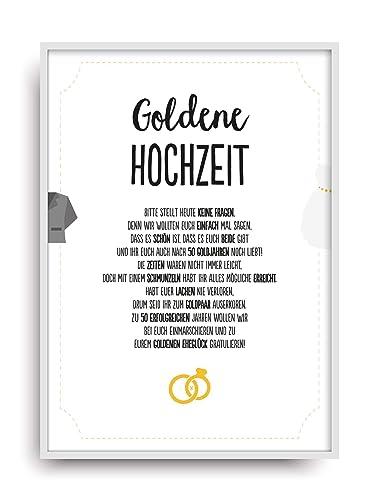 Geschenk Karte Goldene Hochzeit Kunstdruck 50 Hochzeitstag Gold Brautpaar Bild Ohne Rahmen Din A4