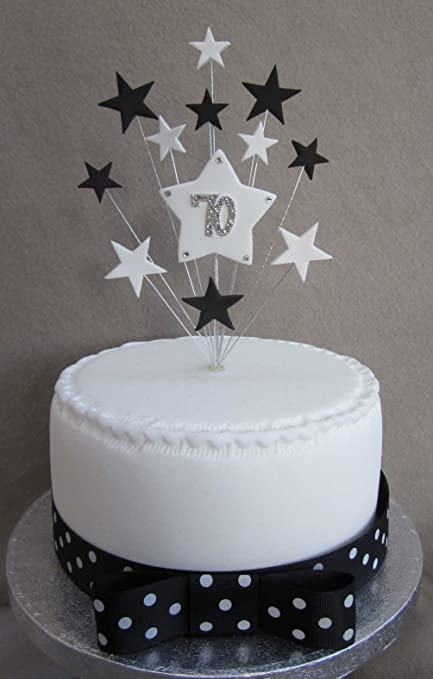 70th Birthday Cake Topper Black And White Stars Suitable For A Small