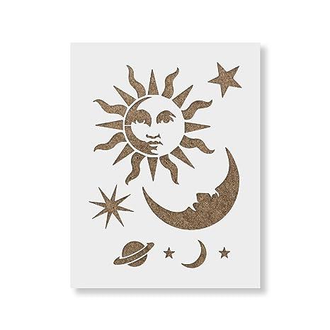 MOON STENCIL STARS STAR CELESTIAL TEMPLATE PATTERN CRAFT GALAXY PAINT ART NEW