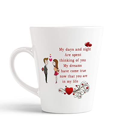 Buy Ikraft Love Romance And Feeling Quotes Printed Conical Coffee Mug Couple Printed Mug Gift For Lover Girlfriend Boyfriend Wife Husband Online At Low Prices In India Amazon In