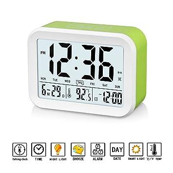 GuDoQi Despertador Digital Reloj Que Habla con 3 Alarmas Luz de Fondo Inteligente Función Snooze Fecha y Pantalla de Temperatura: Amazon.es: Hogar
