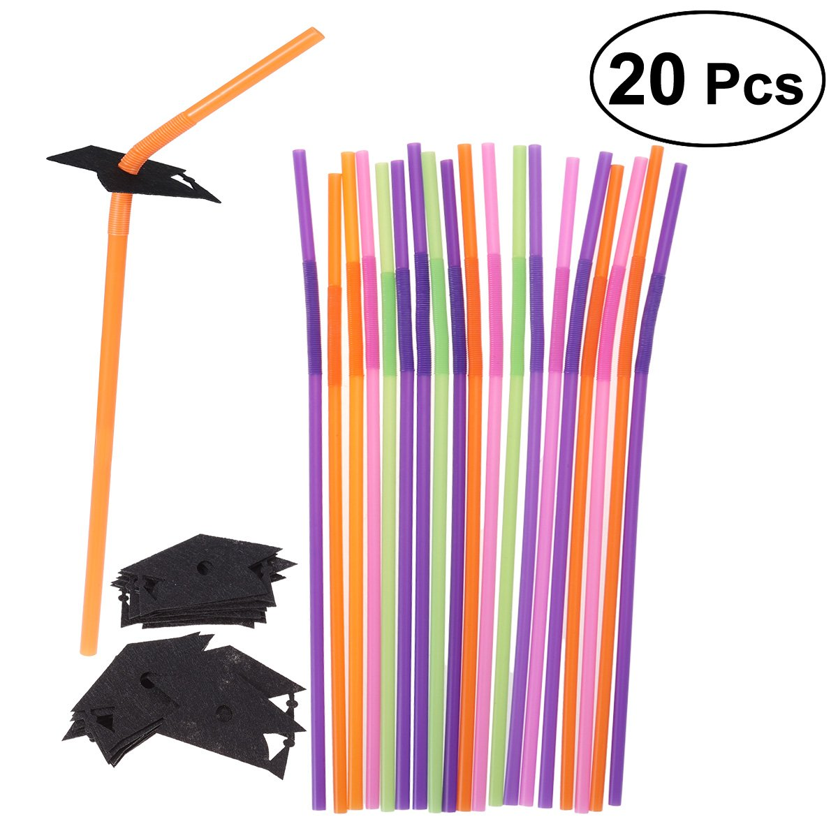 10 Pcs Dr Graduation School Party Striped cap Glitter Paper Straw Decor