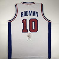 Autographed/Signed Dennis Rodman Detroit White Basketball Jersey JSA COA photo