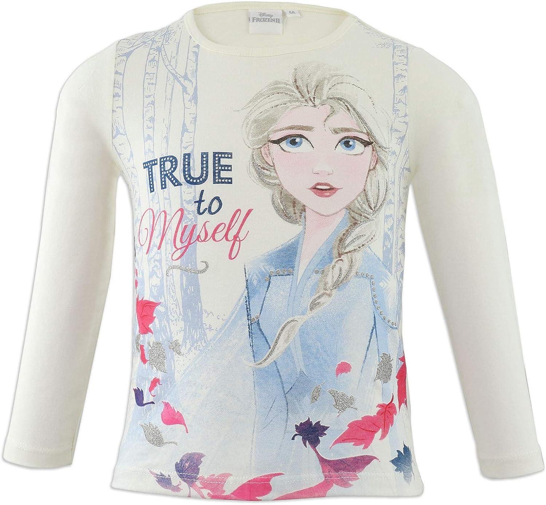 Elsa e Anna Maglietta T-Shirt Maglia a Maniche Lunghe Cotone Bambina Disney Frozen II
