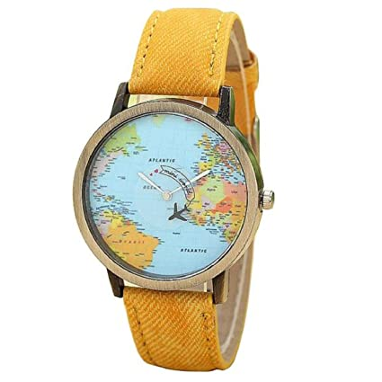 KanLin Mujer Reloj de Casual, banda de tela de denim, Global Fly mapa marcar
