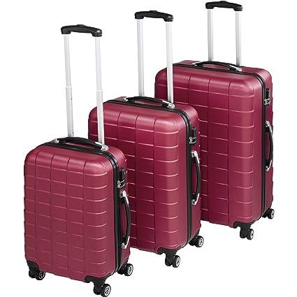 TecTake Set 3 Piezas Maletas ABS Juego de Maletas de Viaje Trolley Maleta Dura | 4 Ruedas de 360º | 2 Mangos y un asa telescópica (Rojo Vino | no. ...
