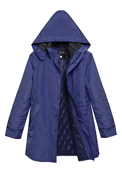 ACEVOG Women Winter Warm Thick Front-Zip Hooded Parka Coat Outdoor ...