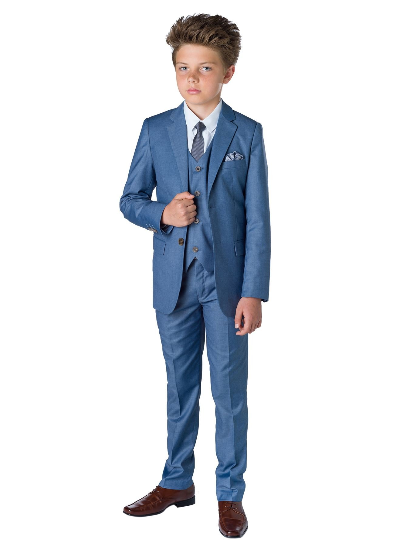 Paisley of London, Boys Chambray Slim fit Suit with Vest and Shirt, Ring Bearer Suit, 8