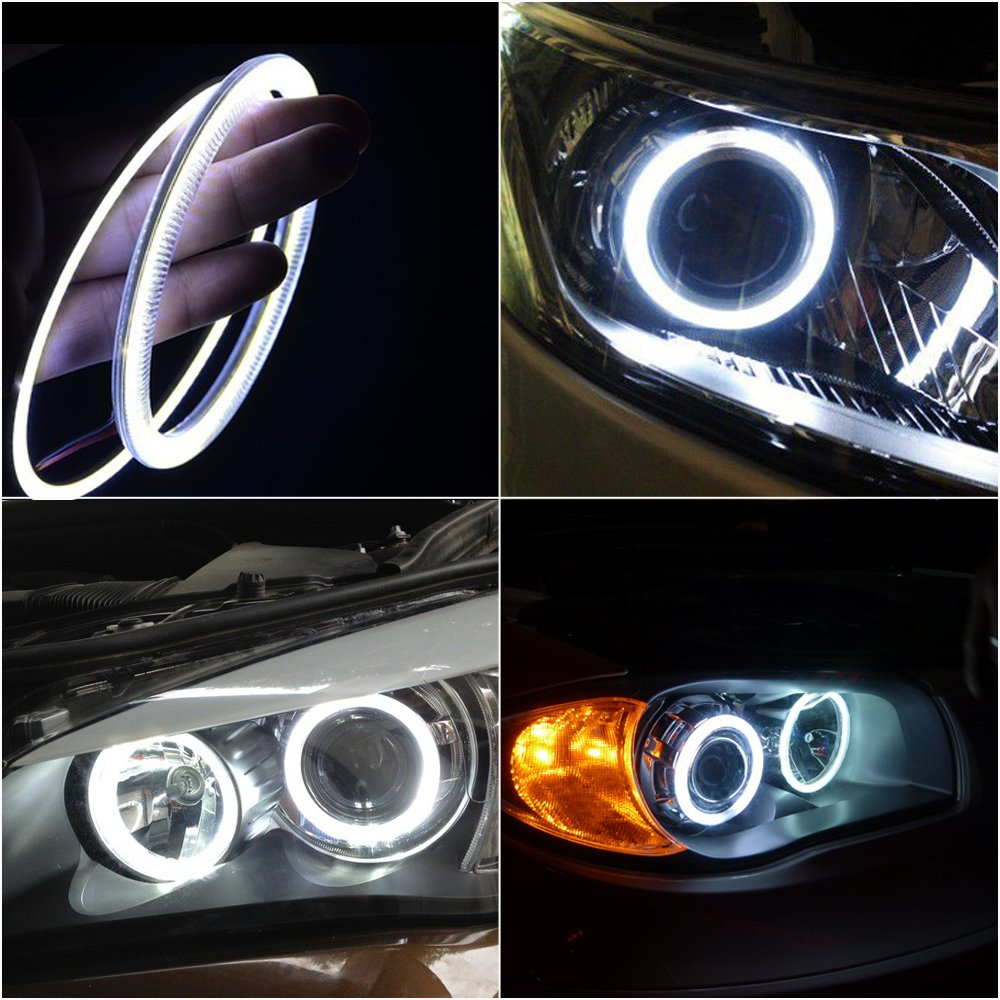 ZXREEK 2X 110MM Red Color 4.33 Inch Car Cob LED Angel Eyes Light Halo Ring Headlight Marker 12V//24V