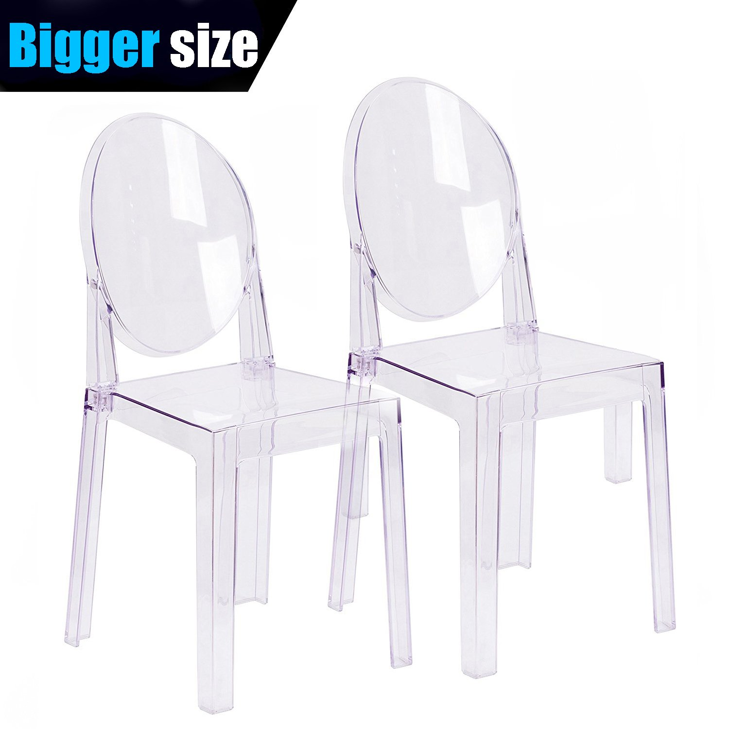 2xhome - Set of Two (2) - Clear - Large Size - Modern Ghost Side Chair Ghost Chair Clear Victoria Chairs Dining Room Chair - Accent Seat - Lounge No Arms Armless Arm Less Chairs by 2xhome