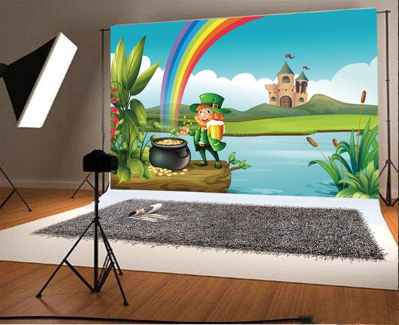 7x5ft Polyester Photography Backdrop St.Patricks Day Lucky Irish Shamrock Leprechauns Pot of Gold Rainbow Trunk River Castle White Cloud Cartoon Photo Background Children Adults Portraits