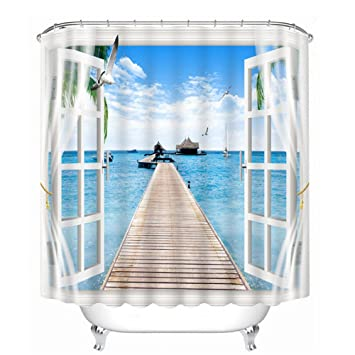 3D-Duschvorhänge Fenster Meerblick Muster Badezimmer ...