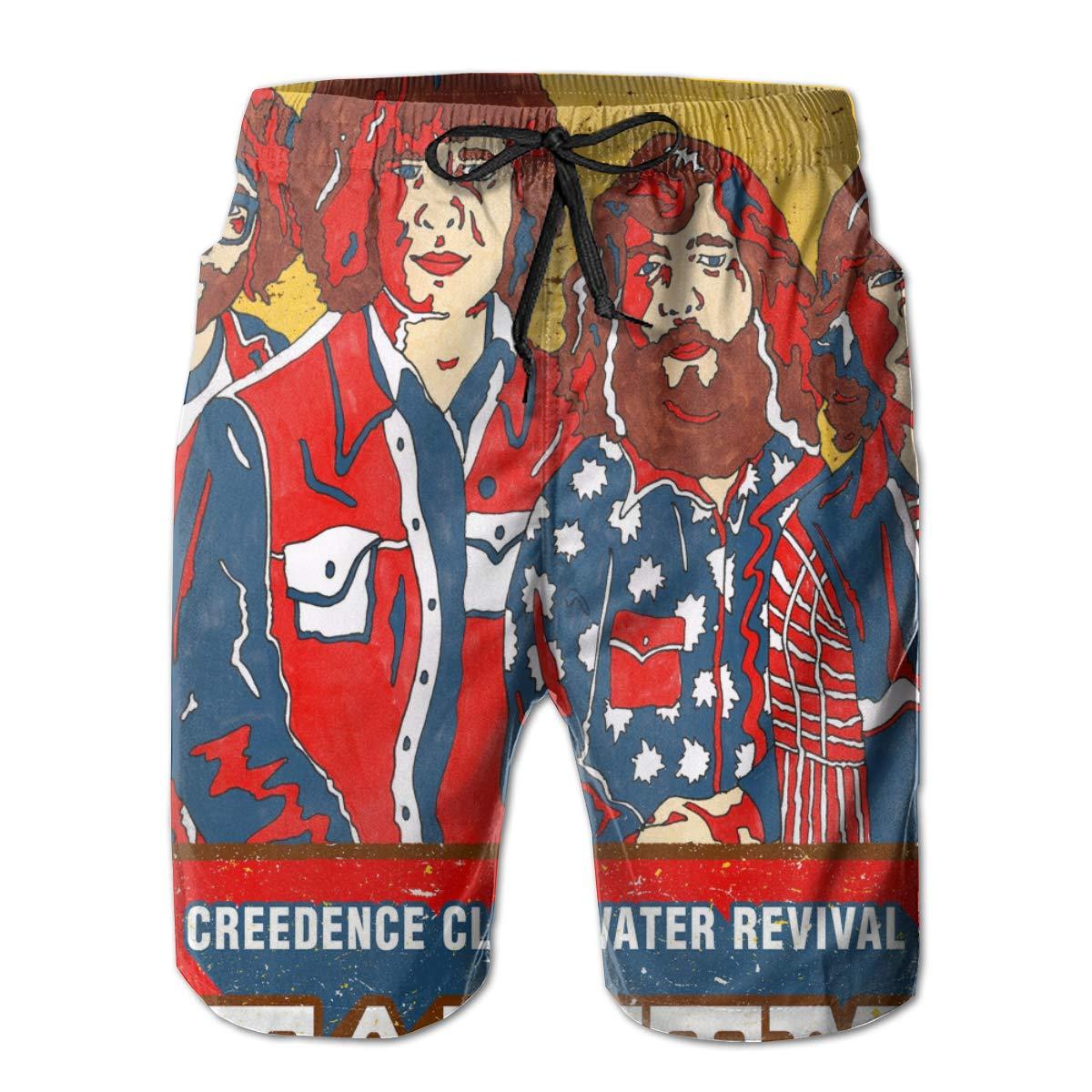 ByronJRivera Mens Creedence Clearwater Revival Walking Adult Drawstring Board Shorts