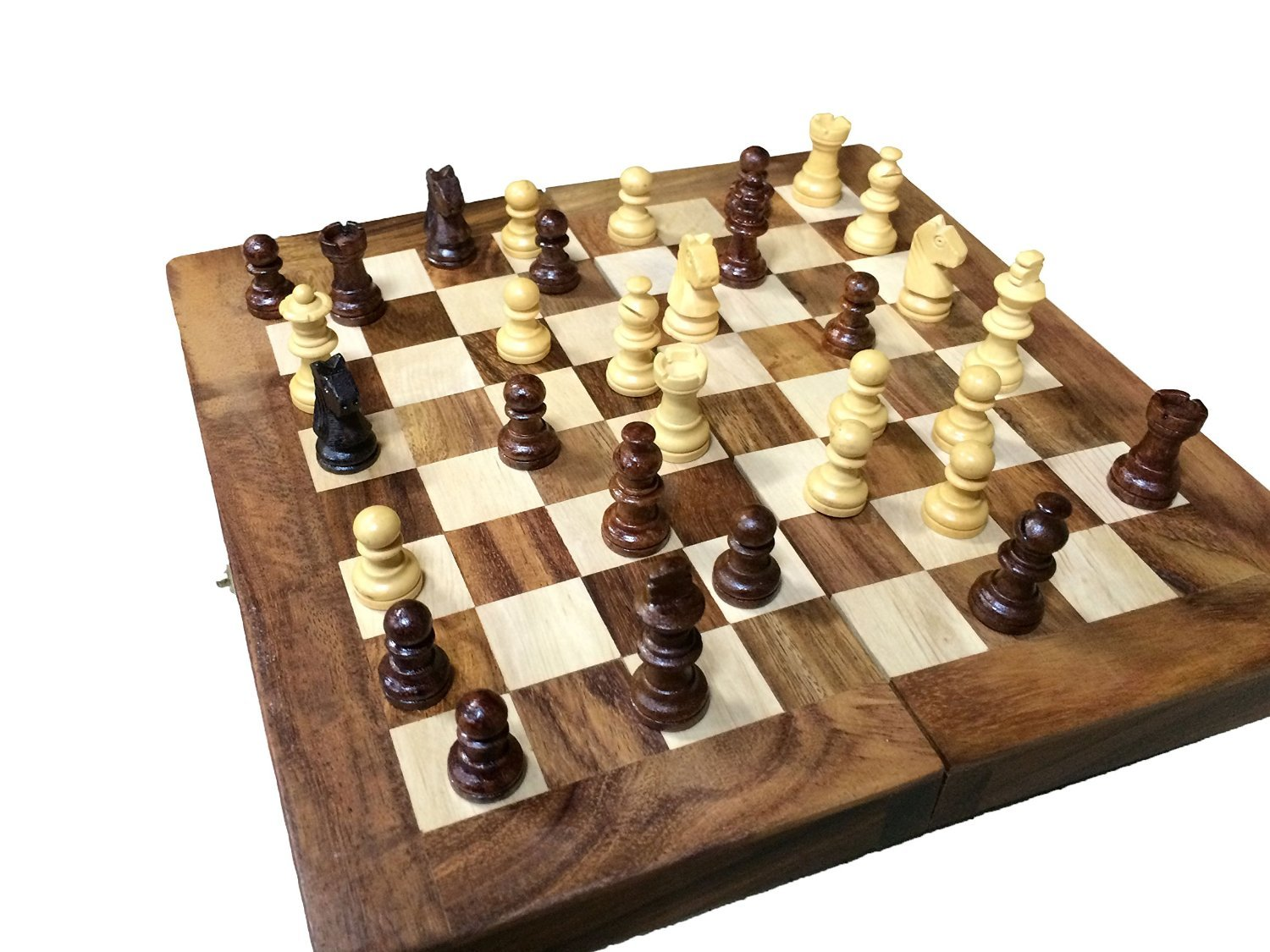 Wooden Chess Table ~ Hand carved wooden chess set vintage pieces board wood
