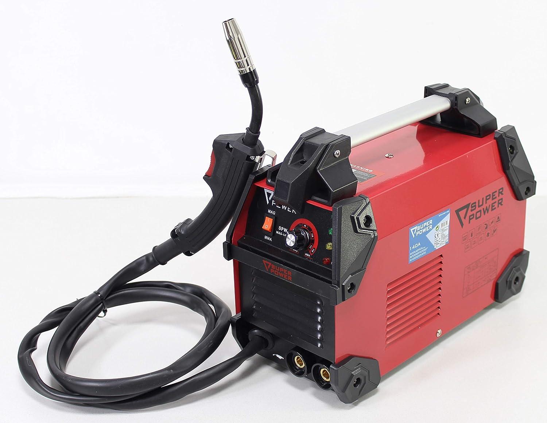Super Power 73221 Equipo Soldadura Inverter 140A, 2 en 1, Trabaja com electrodos y con Hilo flujado, Portable