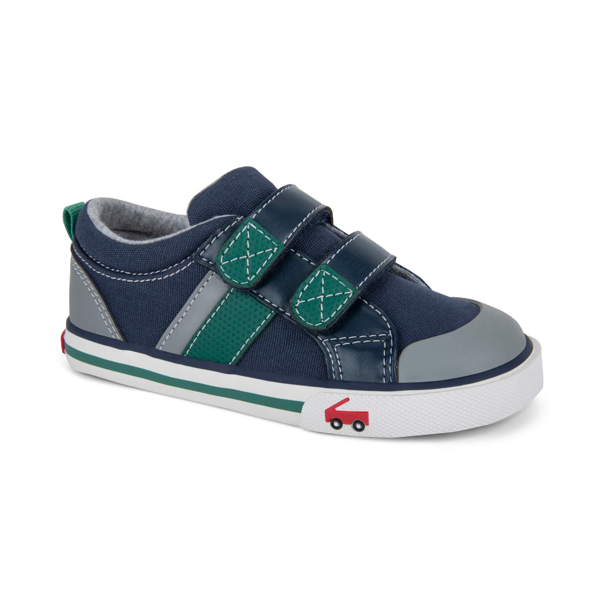 See Kai Run Boys' Russell Sneaker, Navy/Green, 7 M US Toddler