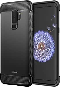 JETech Case for Samsung Galaxy S9 Plus Protective Cover with Shock-Absorption and Carbon Fiber Design (Black)