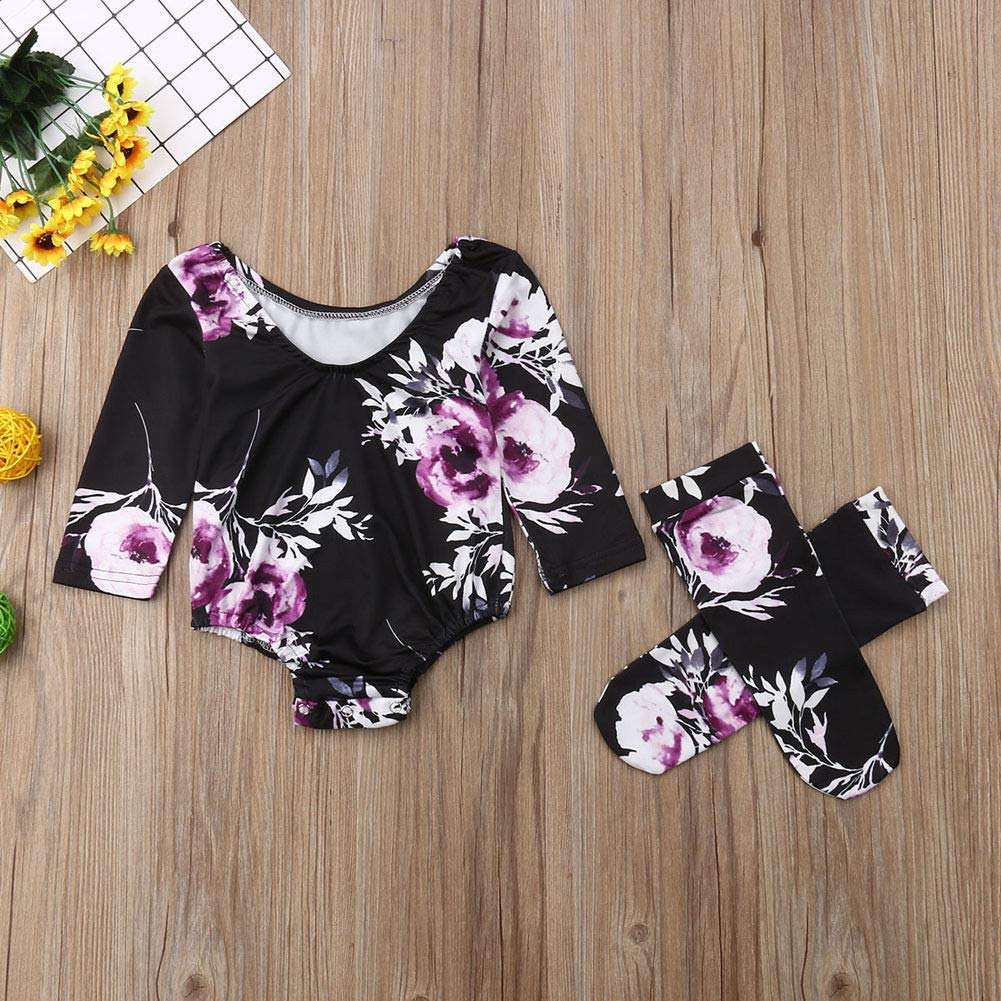 TSEXIEFOOFU Newborn Baby Girls Flower Long Sleeve Romper Jumpsuit+Leg Warmers 3Pcs Outfits Clothes