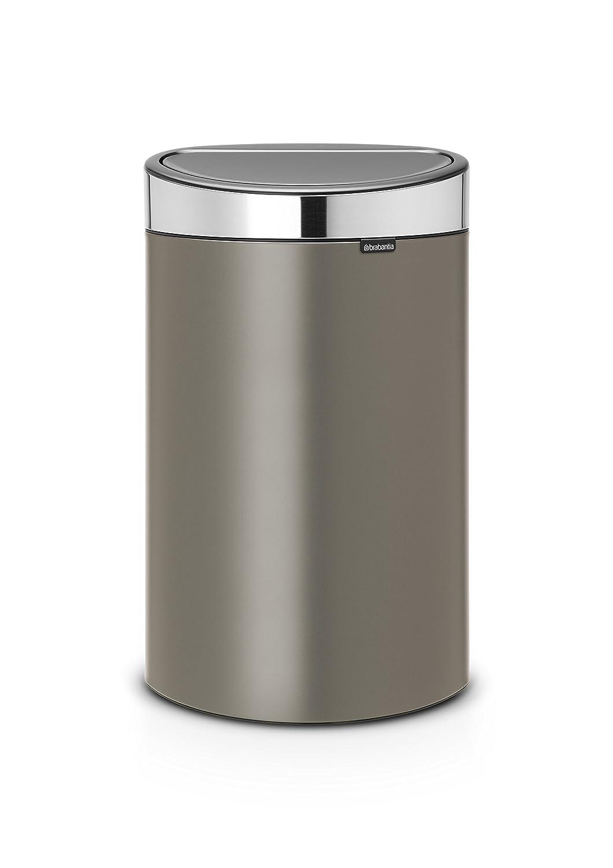 Brabantia Touch Bin Flat Top 30 Liter Platinum.Brabantia Touch Bin With Plastic Inner Bucket 40 L Platinum With Matt Steel Lid