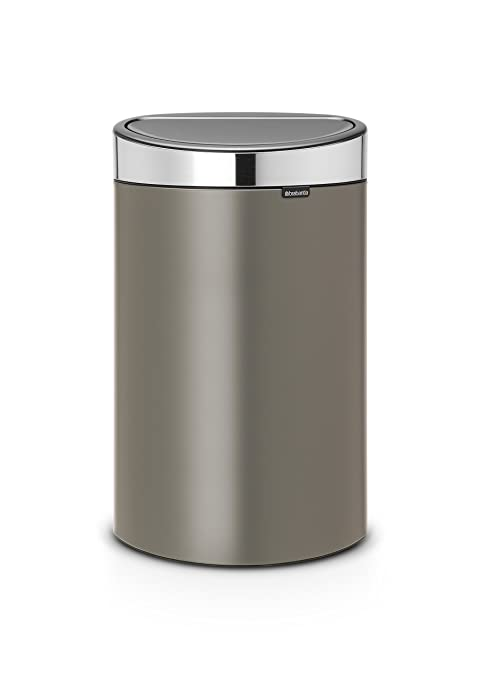 Brabantia Touch Bin Cubo de Basura, 40 litros, Tapa Acero Mate, Platinum