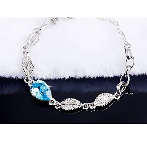 e88e6868d Amazon.com: Mondaynoon Swarovski Element Crystal Lovesick Leaf Bracelet for  Women Girl with Adjustable Chain (Sea blue): Jewelry