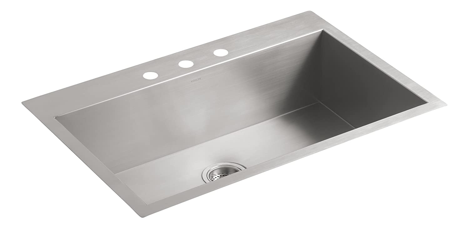 """KOHLER Vault 33"""" Single Bowl 18 Gauge Stainless Steel Kitchen Sink with Three Faucet Holes K-3821-3-NA Drop-in or Undermount Installation, 9 inch Bowl"""