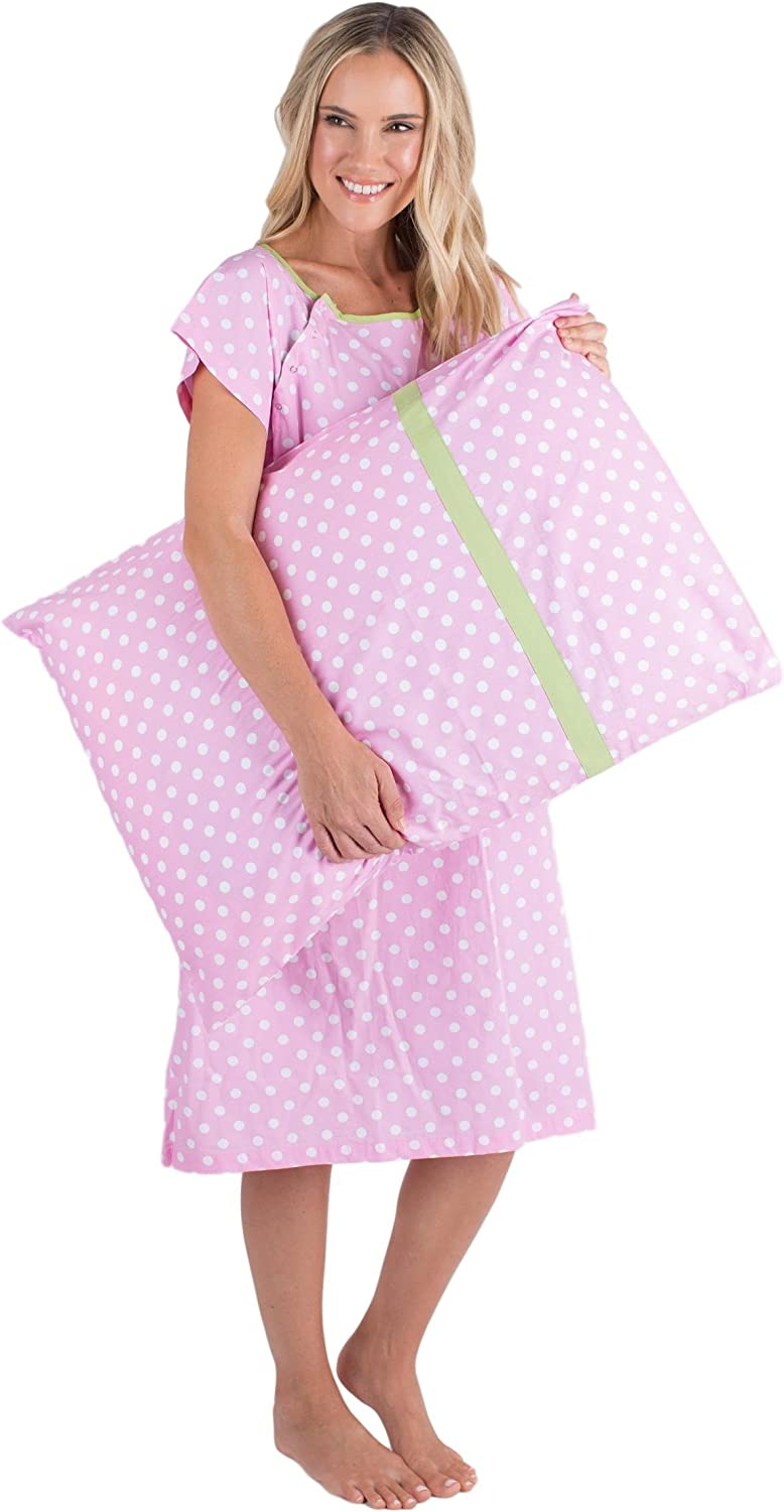 Gownies Labor and Delivery Hospital Gown and Matching Pillowcase-Labor Kit