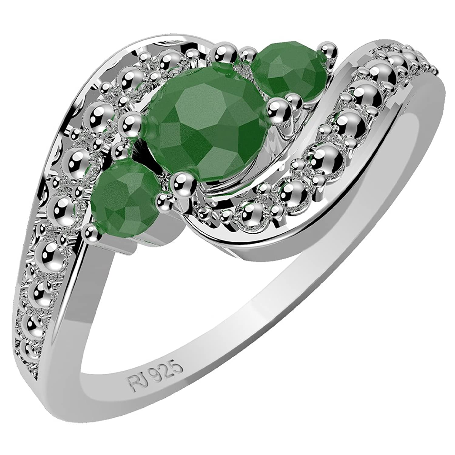 0.70ctw,Genuine Emerald & Solid .925 Sterling Silver Rings