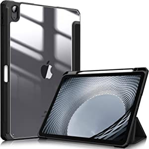 Fintie Hybrid Slim Case for iPad Air 4th Generation 2020 - [Built-in Pencil Holder] Shockproof Cover with Clear Transparent Back Shell, Auto Wake/Sleep for iPad Air 4 10.9 Inch, Black