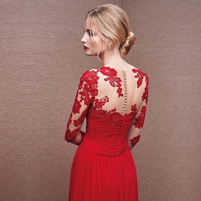 2a59fb4b9 Vestido de noche Hembra Vestido De Novia Banquete Manga Larga Larga Sección  Vestido Formal - Negro Azul Rojo (Color   Rojo
