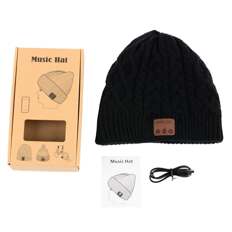 per Sport Invernali Allaperto Correre Nero Fare Escursioni Sciare Rispondere Alle Chiamate Telefoniche Senza Fili Bluetooth Beanie Cappello Bluetooth Senza Fili -Cuffie Auricolari Stereo