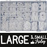 466 Extra White Letters with Organizer for Changeable Felt Letter Board Letters White (3/4 inch and 2 inch) + 11 Cursive Words + 12 Months + 7 Days + 1 Organizer Pre-Cut Plastic White Letters (Color: 466 White Letters + Organizer (Sorted), Tamaño: Extra Letters)
