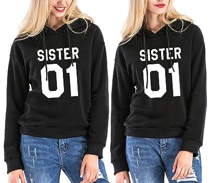 Ziwater Sister Hoodie Set Best Friends Beste Kapuzenpullis Freundin Pullover  Schwarz Weiß 2 Stücke (Schwarz a6bc8f5986