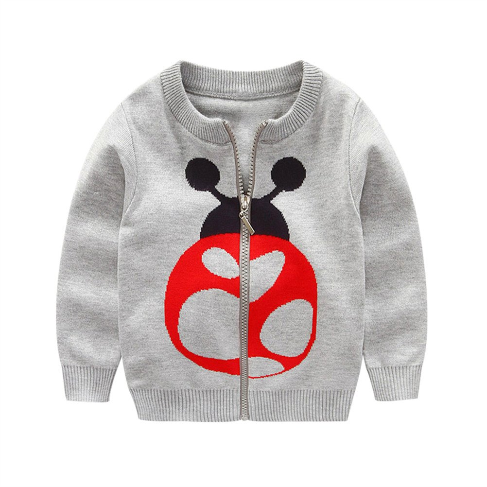 SPRMAG Kids Boys Animals Beetle Knit Cardigan Casual Sweater Coat Zip 4T Grey