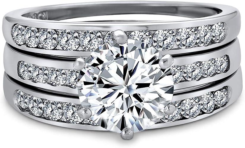 Bridal Set Round Cut Simulated Diamond Ring Engagement Ring Set 14k Rose Gold Plating Wedding Set 925 Silver.