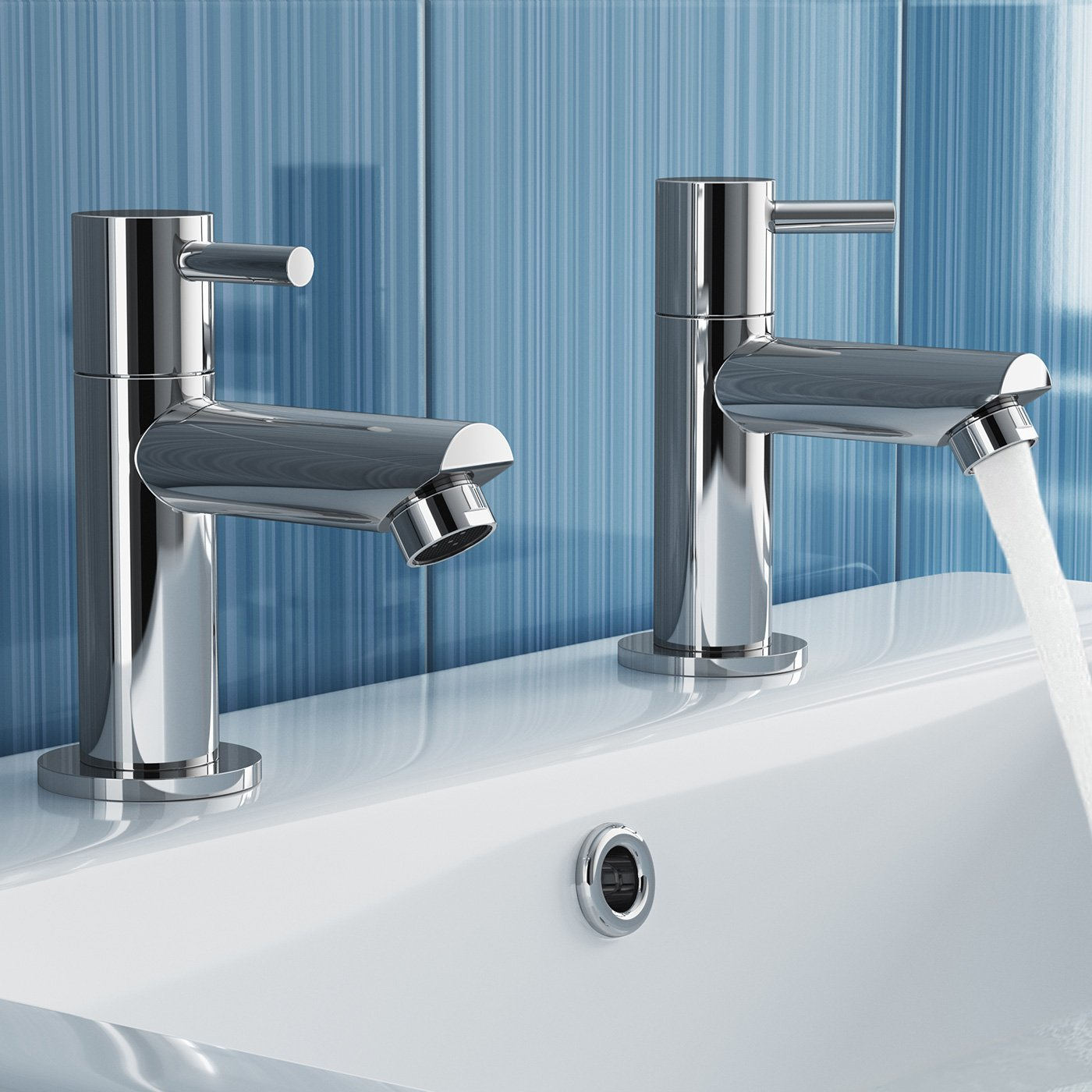 iBathUK Pair of Hot and Cold Basin Sink Mixer Taps Chrome Bathroom ...
