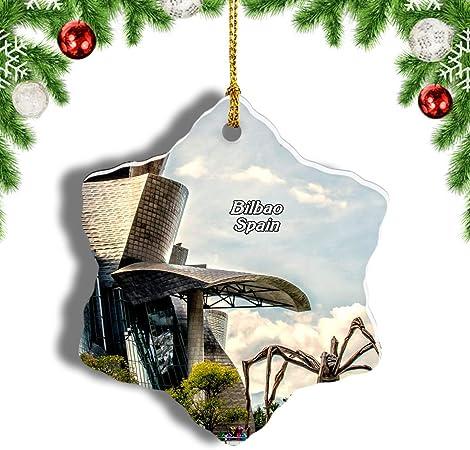 Weekino España Museo Guggenheim Bilbao Decoración de Navidad Árbol de Navidad Adorno Colgante Ciudad Viaje Porcelana Colección de Recuerdos 3 Pulgadas: Amazon.es: Hogar