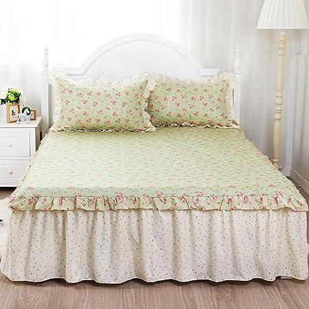 Sábanas CHENGYI Verde patrón de Flores de algodón de algodón de Gama Alta Pastoral Simplicity Cama Cubre Cama Doble Cama Falda (Este Producto Vende Colcha Almohada * 2): Amazon.es: Hogar