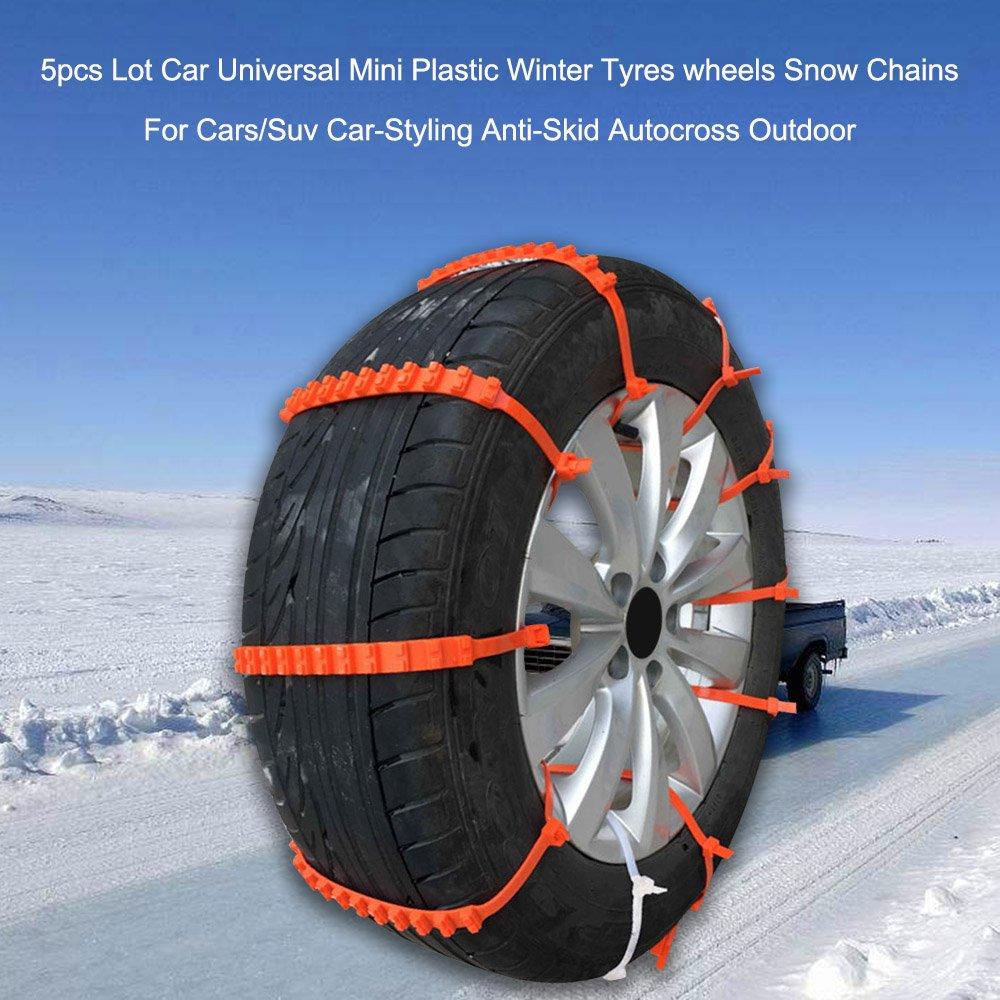 KKmoon 2pcs Calze da Neve Auto Mini Universale Tyres Chains per Auto / Suv Car-Styling Antiscivolo Autocross All'aperto OWSOO