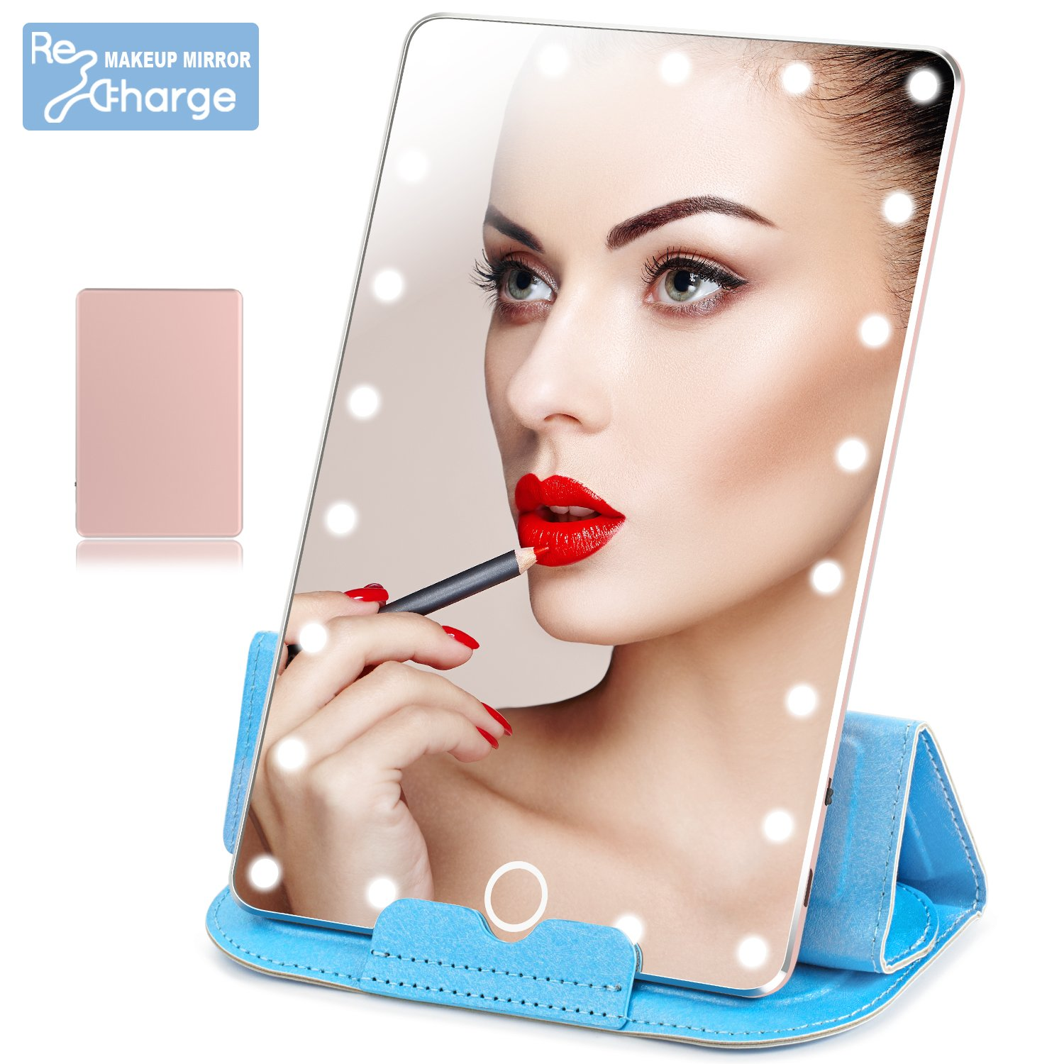 LoiZau Lighted Makeup Mirror, Rechargeable 21 LEDs Dimmable 7.9 Inch Portable Vanity Makeup Mirror with Lights for Travel USB Charging(Rose Gold)