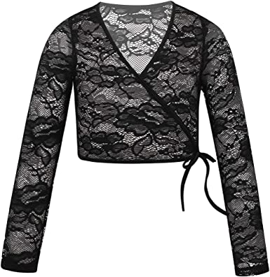 YiZYiF Womens Cropped Tie-Front T-Shirt Top Shrug Wrap Bolero School Girl Costume