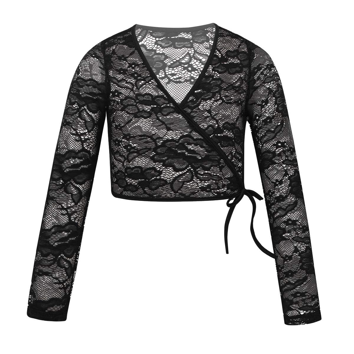 iEFiEL Girls Front Twist Knot Long Sleeve Ballerina Dance Cotton Wrap Top Black Floral Lace 10-12 by iEFiEL