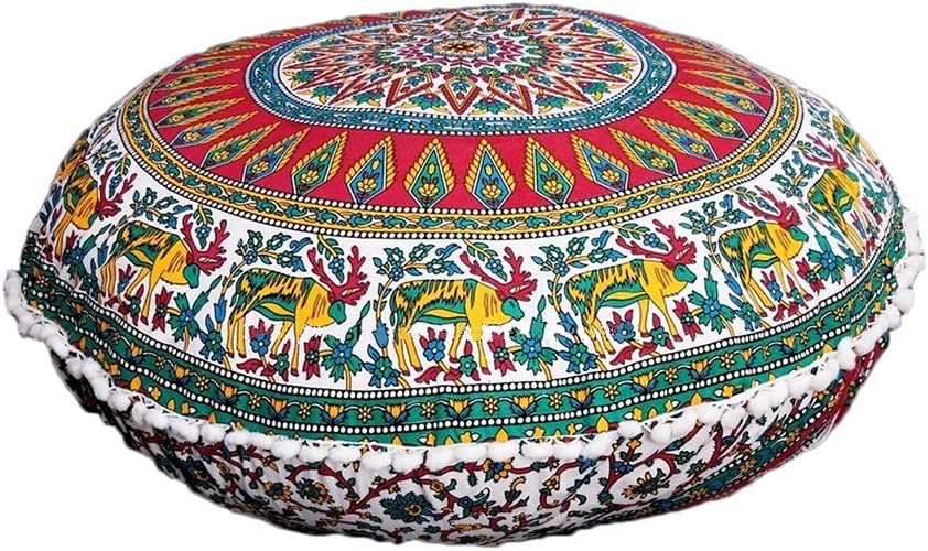 """Indian Cotton 32/"""" Inch Round Floor Peacock Mandala Pillow Pouf Cushion Cover Art"""