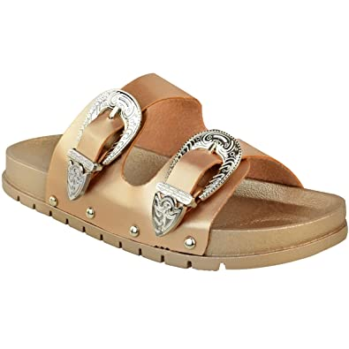 8b20c23710a1 Fashion Thirsty Womens Ladies Flat Slip On Sandals Sliders Studded Wide  Strap Summer Mules Size