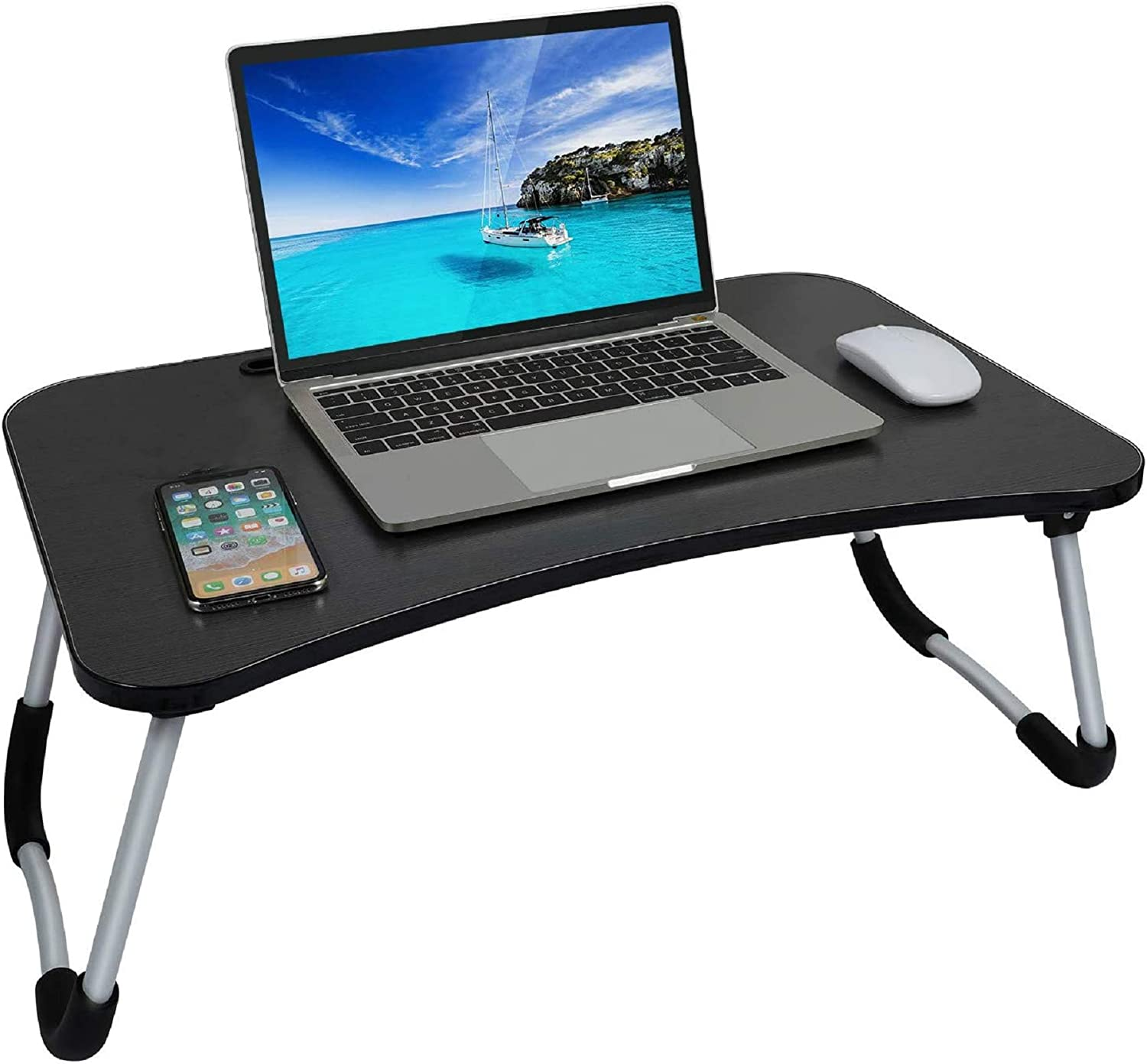 Foldable Bed Tray Lap Desk Portable Lap Desk with Phone Slots Notebook Table Dorm Desk Small Desk Folding Dormitory Table Perfect for Watching Movie on Bed Or As Personal Dinning Table, Black