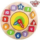 Tooky Toy - Orologio Puzzle. Giocattolo educativo in legno adatto a partire dai 3 anni